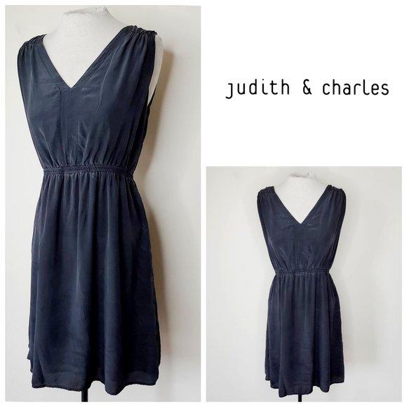 JUDITH & CHARLES 100% Silk Charcoal Grey Dress
